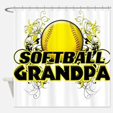 Softball Grandpa (cross).png Shower Curtain