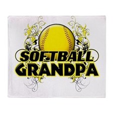 Softball Grandpa (cross).png Throw Blanket