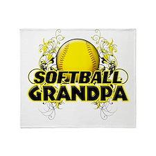 Softball Grandpa (cross).png Throw Blanket