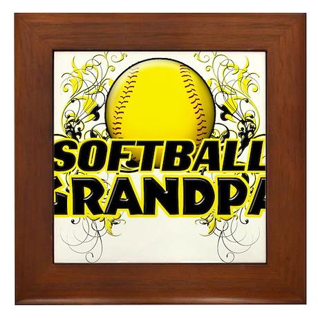 Softball Grandpa (cross).png Framed Tile