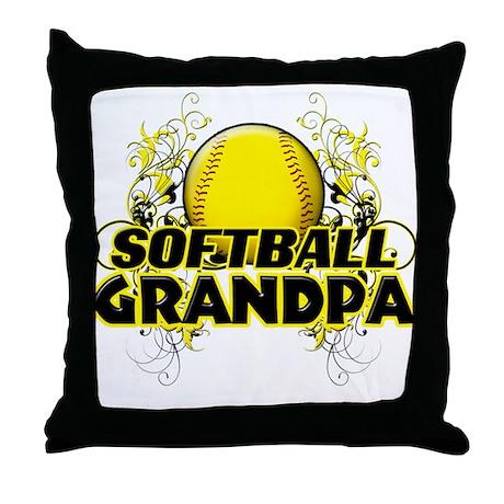 Softball Grandpa (cross).png Throw Pillow