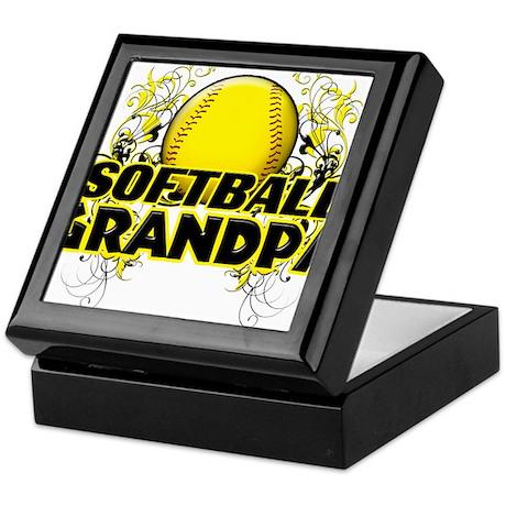 Softball Grandpa (cross).png Keepsake Box