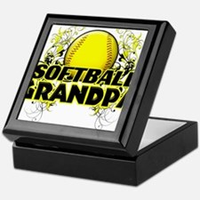 Softball Grandpa (cross).png Keepsake Box