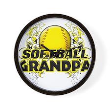 Softball Grandpa (cross).png Wall Clock