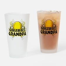 Softball Grandpa (cross).png Drinking Glass