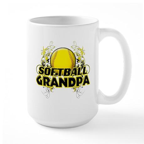 Softball Grandpa (cross).png Large Mug
