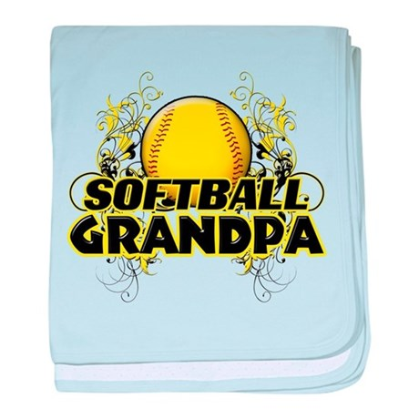 Softball Grandpa (cross).png baby blanket