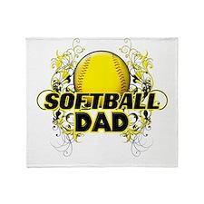 Softball Dads (cross).png Throw Blanket