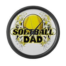 Softball Dads (cross).png Large Wall Clock