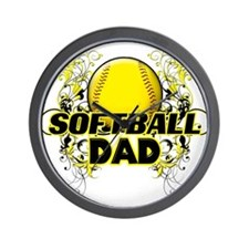 Softball Dads (cross).png Wall Clock