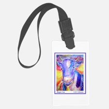 Cow! Purple cow art! Luggage Tag