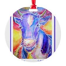 Cow! Purple cow art! Ornament