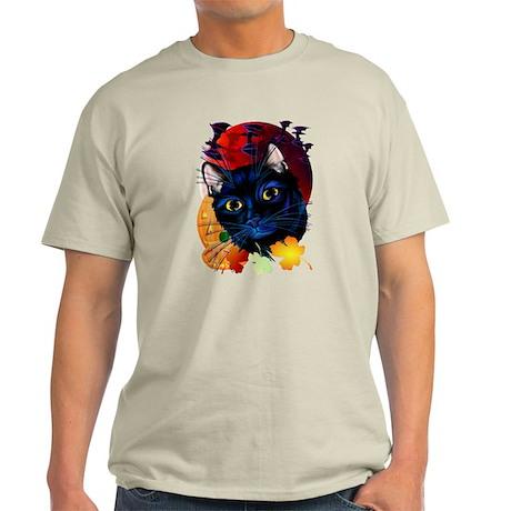 A Black Cat Halloween Light T-Shirt
