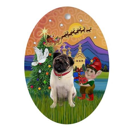 Xmas Fantasy with a Pug (4) Oval Ornament