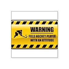 Warning Field Hockey Player Rectangle Sticker