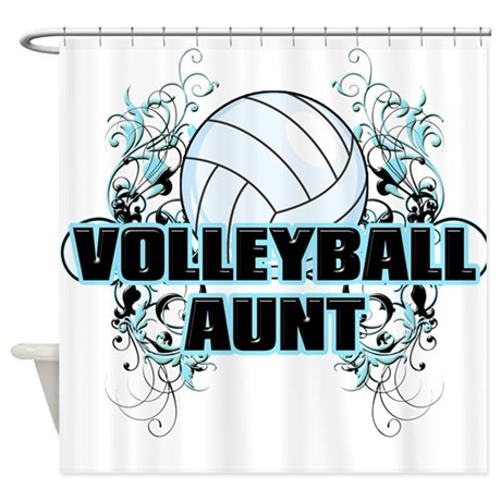 Volleyball Aunt (cross).png Shower Curtain