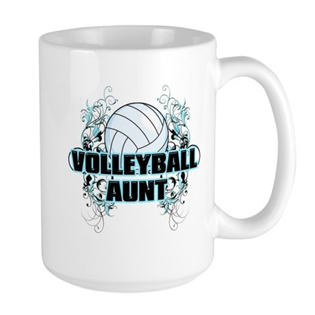 Volleyball Aunt (cross).png Large Mug