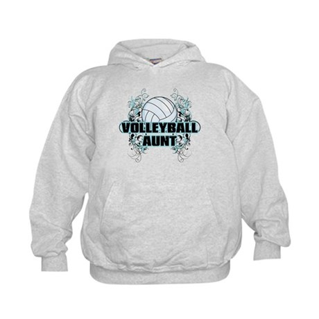 Volleyball Aunt (cross).png Kids Hoodie