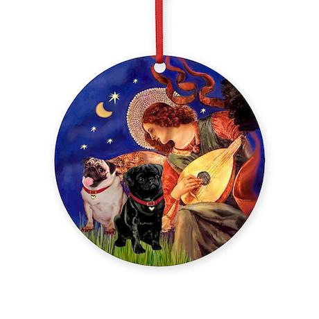 Mandolin Angel & Pugs Ornament (Round)
