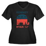 Romney Ryan 2012 Women's Plus Size V-Neck Dark T-S