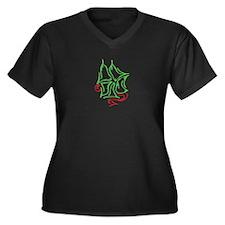 GREEN CLOVER Women's Plus Size V-Neck Dark T-Shirt