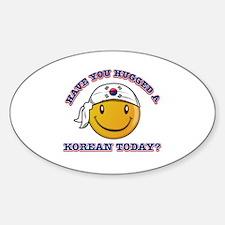 Cute Korean Smiley Design Sticker (Oval)