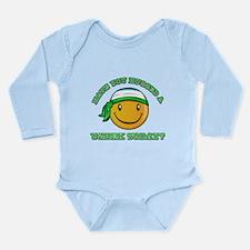 Cute Uzbek Smiley Design Long Sleeve Infant Bodysu
