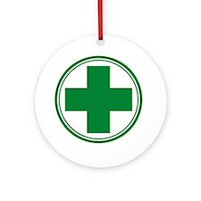 Green Cross Ornament (Round)