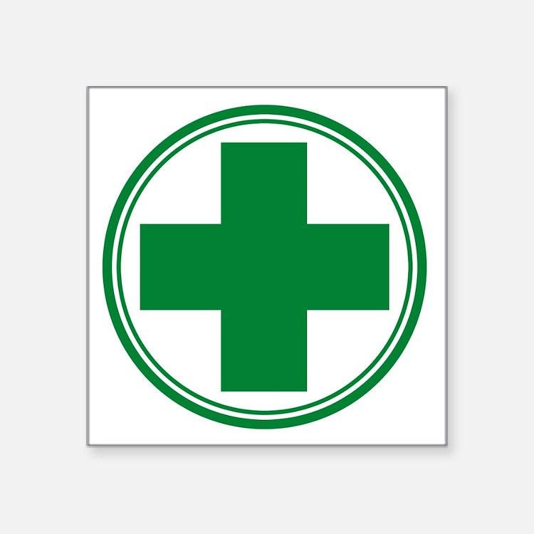 "Green Cross Square Sticker 3"" x 3"""