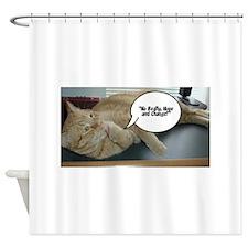 Orange Tabby Cat Political Humor Shower Curtain