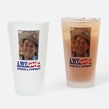 Ronald Reagan/Cowboy Drinking Glass