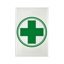 Green Cross Rectangle Magnet