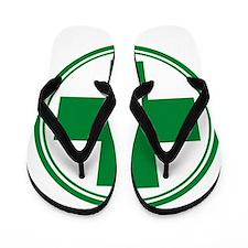 Green Cross Flip Flops
