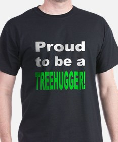 Proud Treehugger (Front) Black T-Shirt