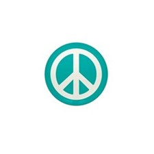Classic Teal Peace Sign Mini Button