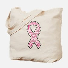 Pink Ribbon Words Tote Bag