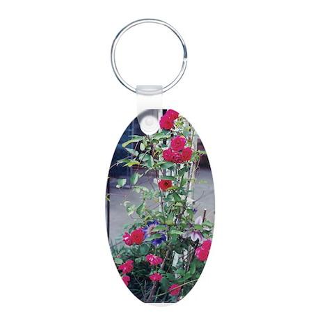 Rose Trellis Aluminum Oval Keychain