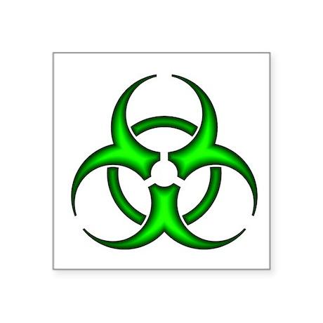 Neon Green Biohazard Symbol Oval Sticker