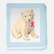 Breast Cancer Awarness Polar Bear baby blanket