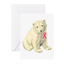 Breast Cancer Awarness Polar Bear Greeting Cards (