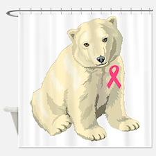 Breast Cancer Awarness Polar Bear Shower Curtain