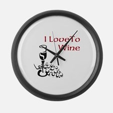 I love to wine Large Wall Clock
