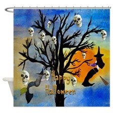 Halloween Skull and Witch Spooky Tree Shower Curta