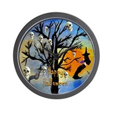 Halloween Skull and Witch Spooky Tree Wall Clock