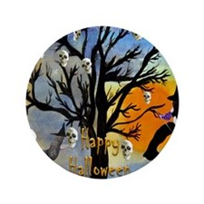 "Halloween Skull and Witch Spooky Tree 3.5"" Button"