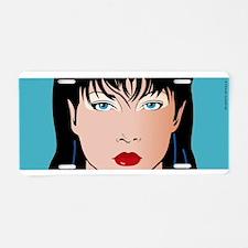 Pop Art Girl Amber Aluminum License Plate