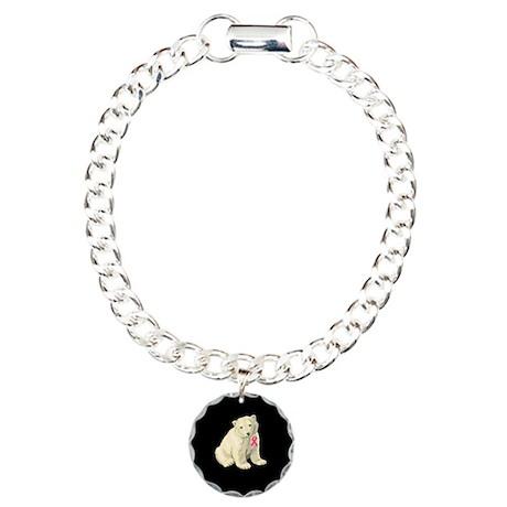 Breast cancer awareness polar bear Charm Bracelet,