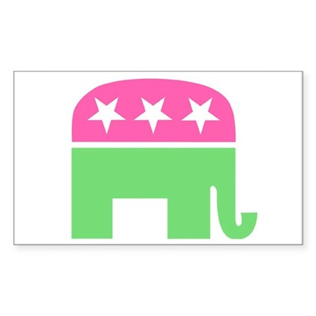 Preppy Elephant Oval Sticker Sticker