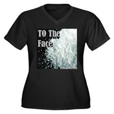 To The Face Women's Plus Size V-Neck Dark T-Shirt