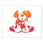Pink + Orange Puppy Small Poster